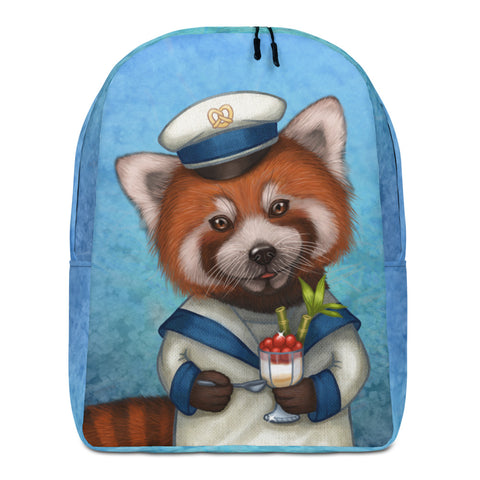 "Backpack ""Life is uncertain so eat your dessert first"" (Red panda)"