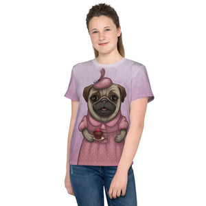 "Unisex youth T-shirt ""A full stomach makes a happy heart"" (Pug)"