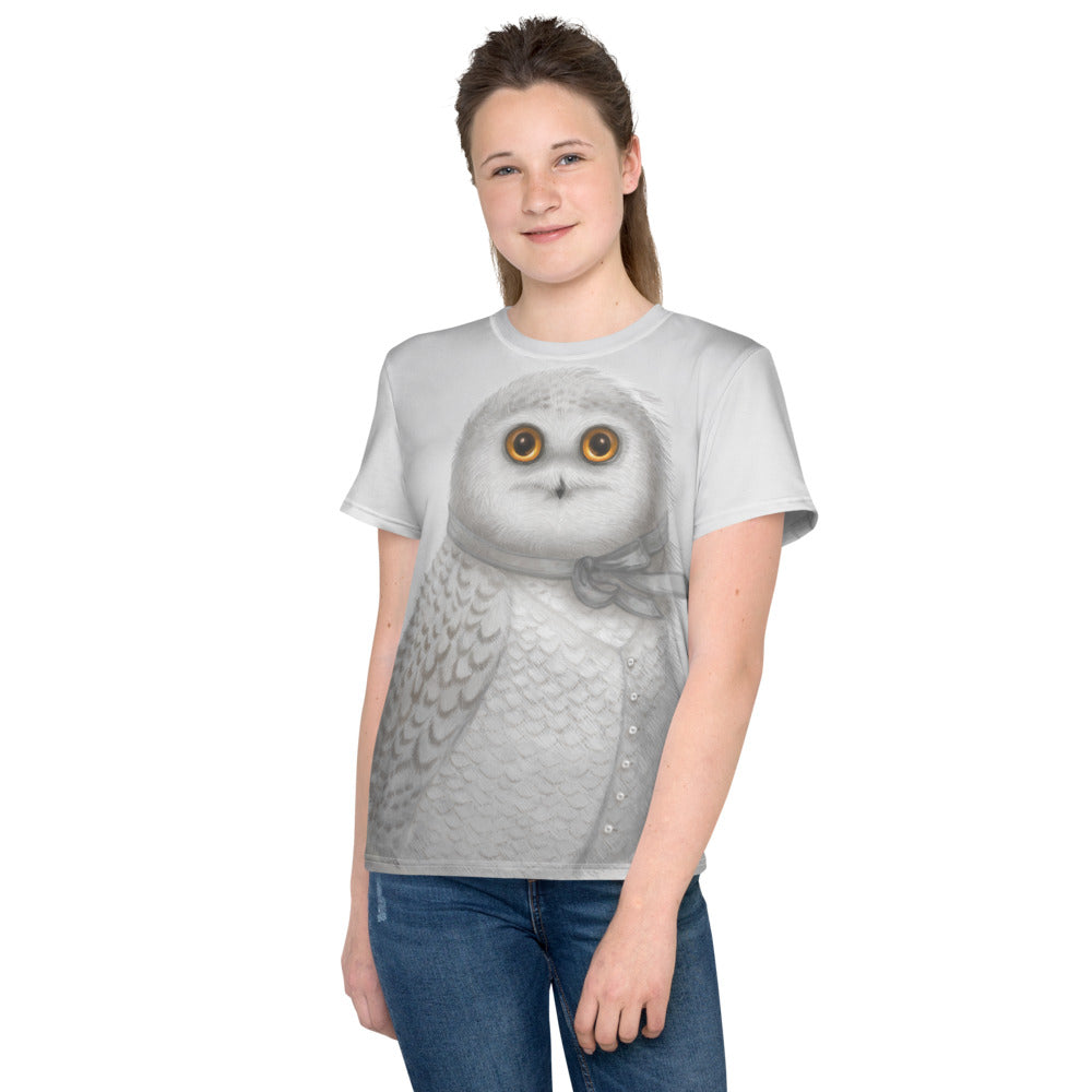 "Unisex youth T-Shirt ""The North wind does blow and we shall have snow"" (Snowy owl)"