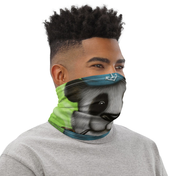 "Neck gaiter ""Rowing slower will get you further"" (Giant panda)"