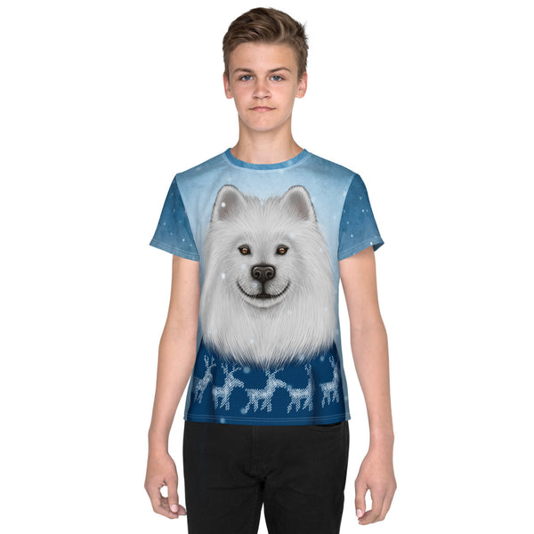 "Unisex youth T-shirt ""No snowflake ever falls in the wrong place"" (Samoyed)"