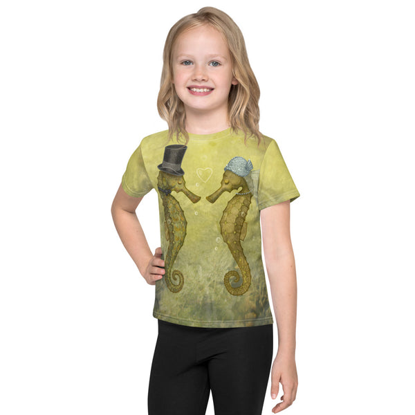 "Unisex kids T-shirt ""Sea has hundred hearts"" (Seahorses)"