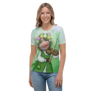 "Women's T-shirt ""The older the fiddle the sweeter the tune"" (Opossum)"