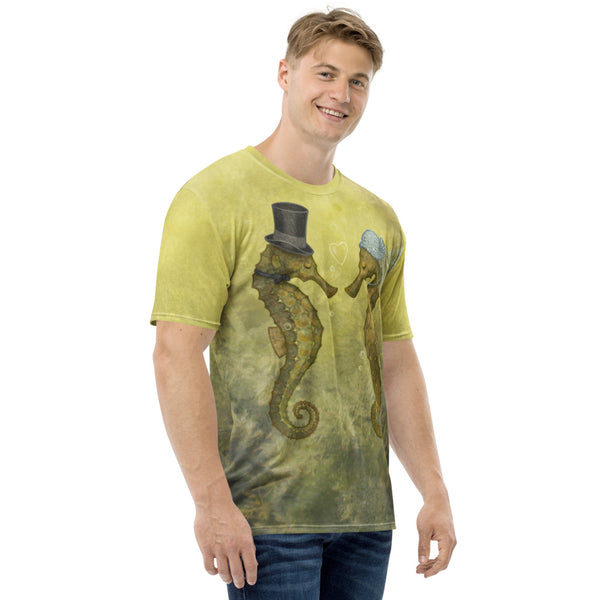 "Men's T-shirt ""Sea has hundred hearts"" (Seahorses)"