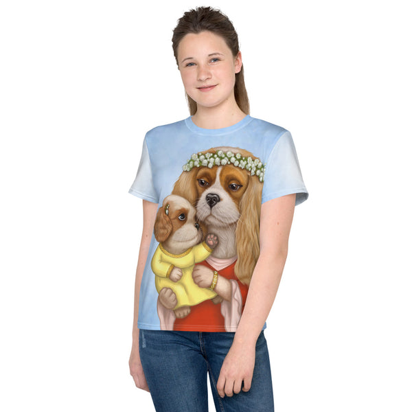"Unisex youth T-shirt ""Time brings everything to those who can wait for it"" ( Cavalier King Charles Spaniels)"