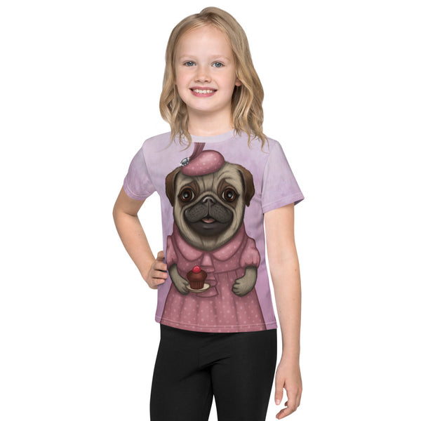 "Unisex kids T-shirt ""A full stomach makes a happy heart"" (Pug)"