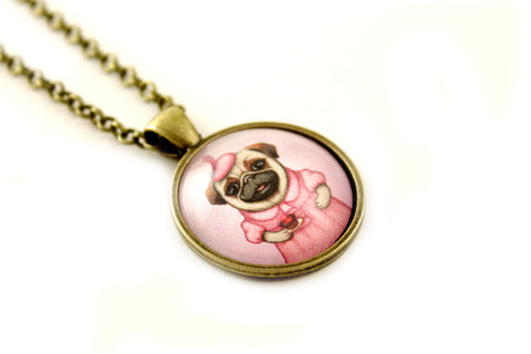 "Pendant ""A full stomach makes a happy heart"" (Pug)"