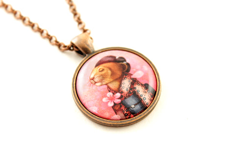 "Pendant ""A fallen blossom never returns to the branch"" (Pika)"