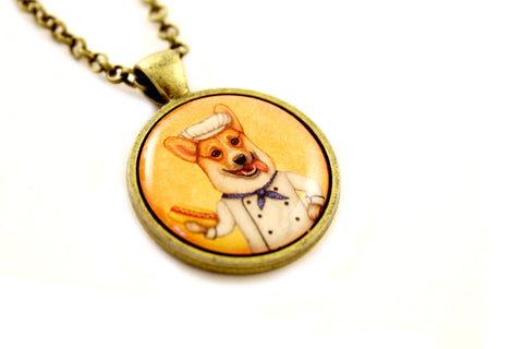 "Pendant ""An empty belly is the best cook"" (Pembroke Welsh corgi)"