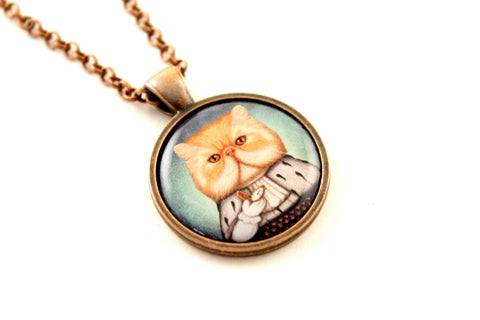 "Pendant ""Punctuality is the politeness of kings"" (Persian cat)"