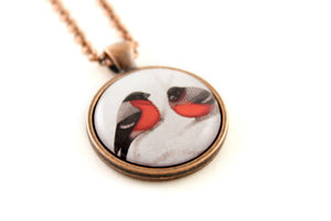 "Pendant ""A bush doesn't grow berries in winter"" (Eurasian bullfinches)"