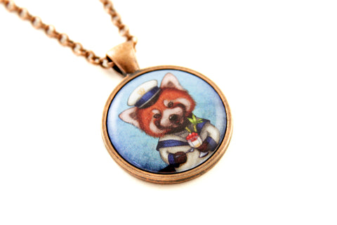"Pendant ""Life is uncertain so eat your dessert first"" (Red panda)"