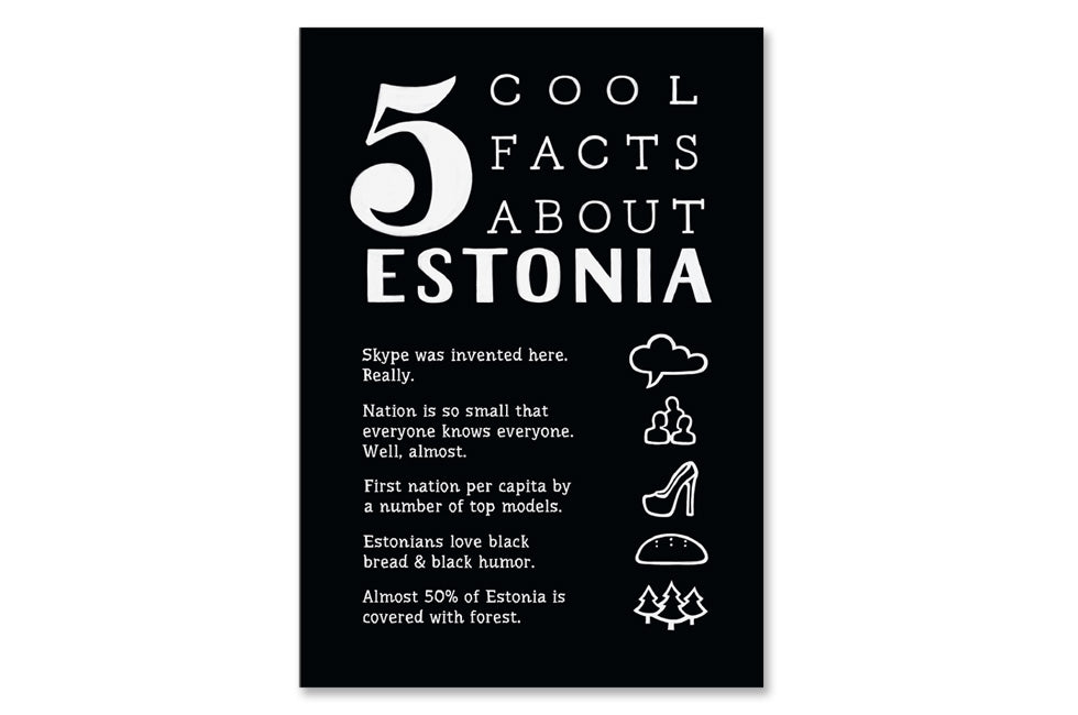 "Postcard ""5 cool facts about Estonia"""