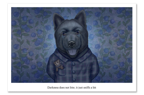 "Postcard ""Darkness does not bite, it just sniffs a bit"" (Chow-Chow)"
