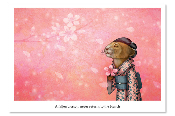 "Postcard ""A fallen blossom never returns to the branch"" (Pika)"