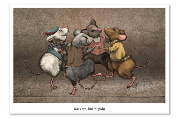 "Postcard ""When the cat is away, the mice will play"" (Mice)"