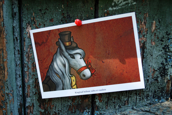 "Postcard ""Don't look a gift horse in the mouth"" (Horse)"