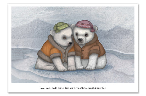 "Postcard ""You don't really know your friends until the ice breaks"" (Polar bears)"