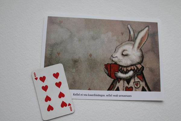 "Postcard ""Lucky at cards, unlucky in love"" (Hare)"