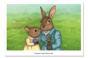 "Postcard ""It is never winter in the land of hope"" (Hares)"