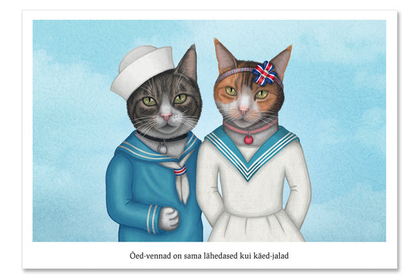 "Postcard ""Brothers and sisters are as close as hands and feet"" (Cats)"