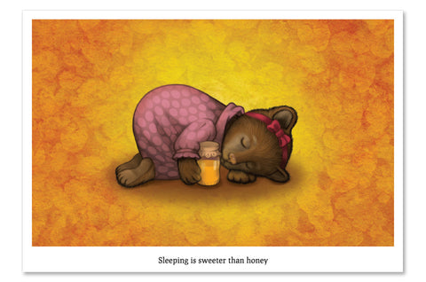 "Postcard ""Sleeping is sweeter than honey"" (Bear)"