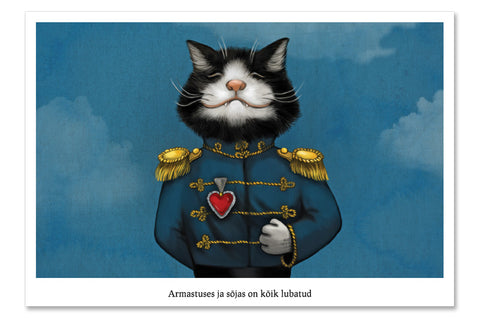 "Postcard ""All's fair in love and war"" (Cat)"