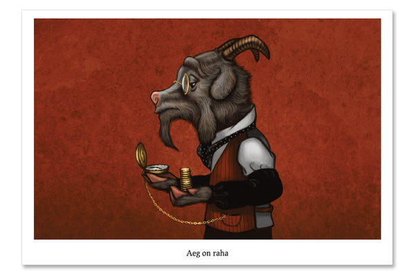 "Postcard ""Time is money"" (Goat)"