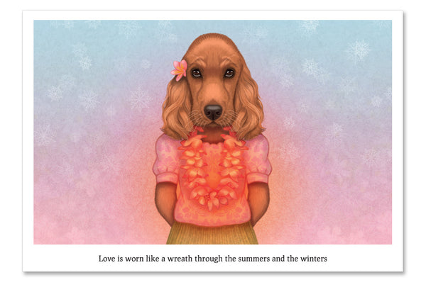 "Postcard ""Love is worn like a wreath through the summers and the winters"""