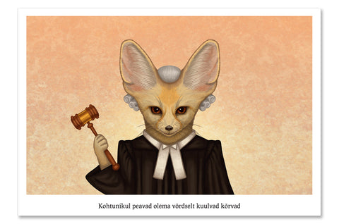 "Postcard ""Judges should have two ears, both alike"" (Fennec fox)"