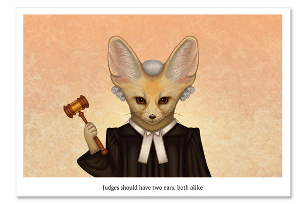 "Postcard ""Judges should have two ears, both alike"""