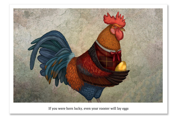 "Postcard ""If you were born lucky, even your rooster will lay eggs"""