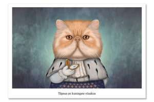 "Postcard ""Punctuality is the politeness of kings"" (Persian cat)"