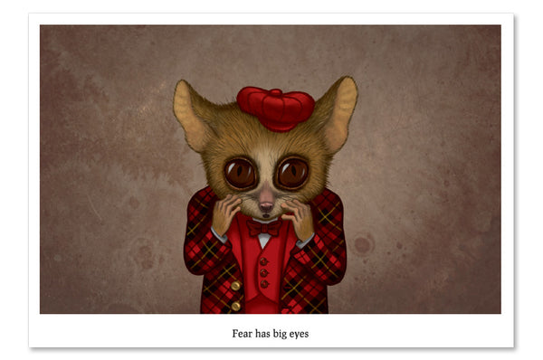 "Postcard ""Fear has big eyes"" (Mouse lemur)"