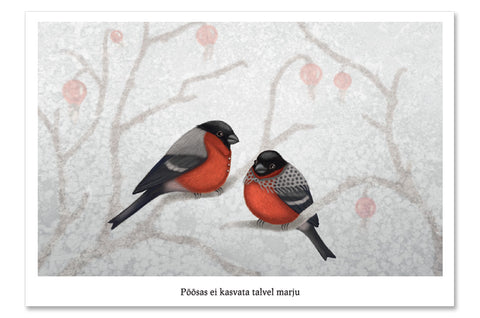 "Postcard ""A bush doesn't grow berries in winter"" (Eurasian bullfinches)"