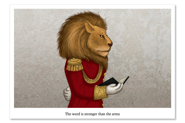 "Postcard ""The word is stronger than the army"" (Lion)"