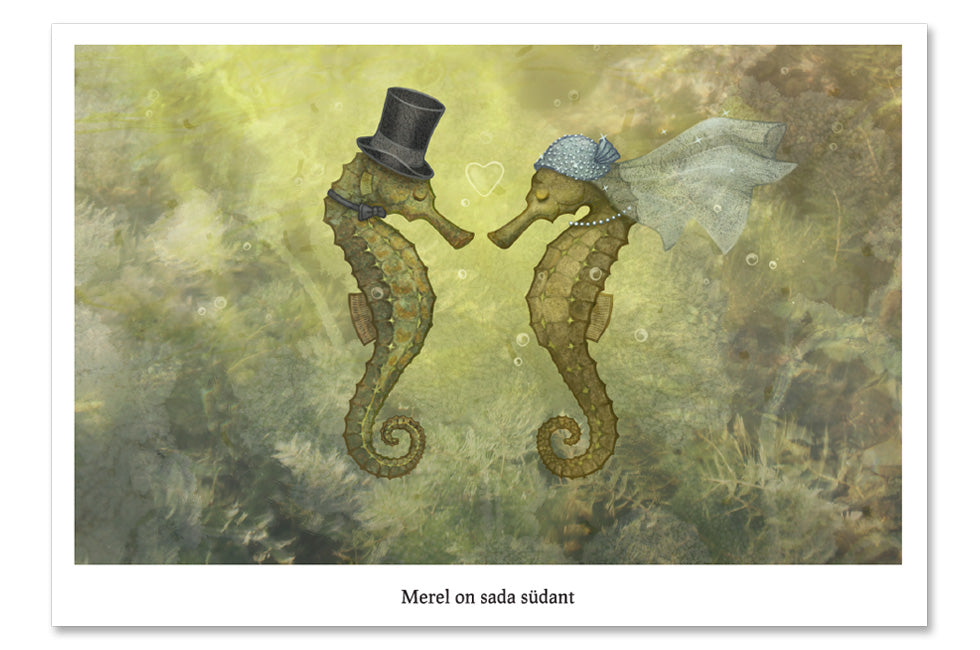 "Postcard ""Sea has hundred hearts"" (Seahorses)"