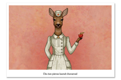 "Postcard ""An apple a day keeps the doctor away"" (Deer)"