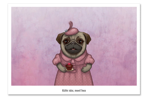 "Postcard ""A full stomach makes a happy heart"" (Pug)"