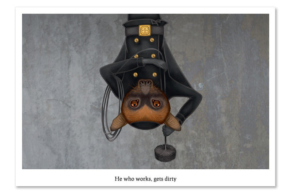 "Postcard ""He who works, gets dirty"" (Large flying fox)"