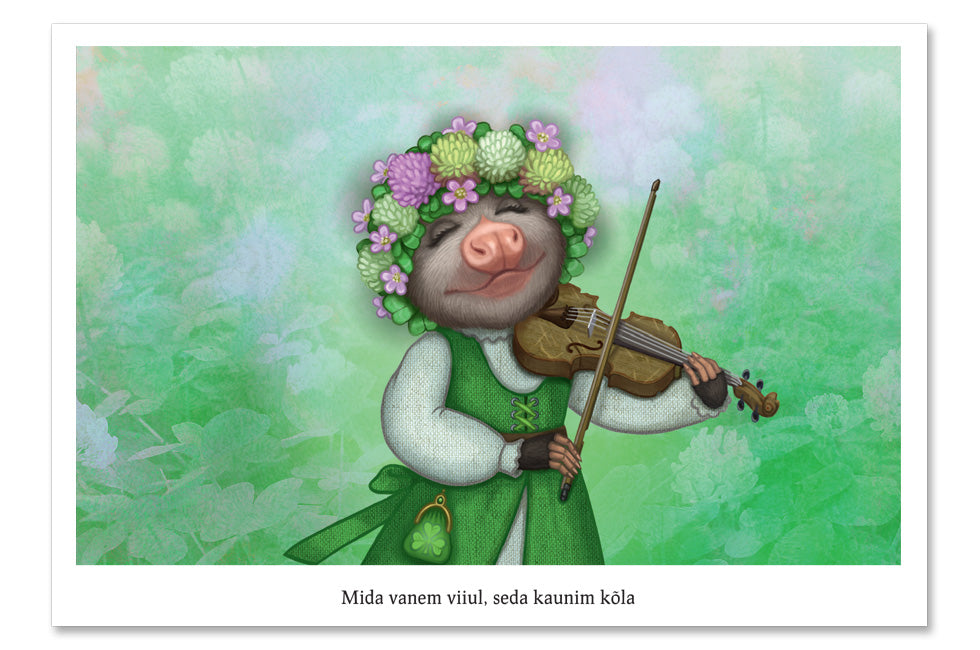 "Postcard ""The older the fiddle the sweeter the tune"" (Opossum)"