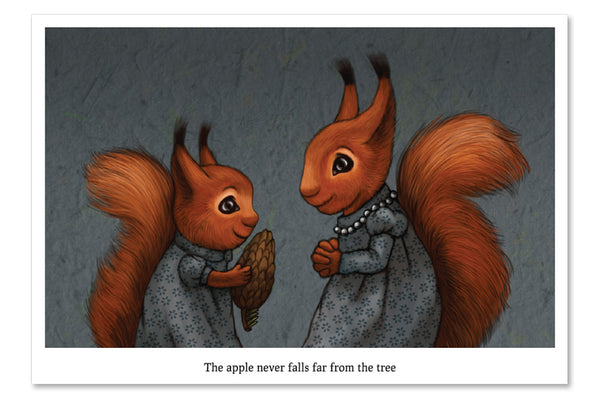 "Postcard ""The apple never falls far from the tree"""