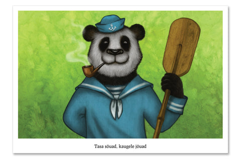 "Postcard ""Rowing slower will get you further"" (Giant panda)"
