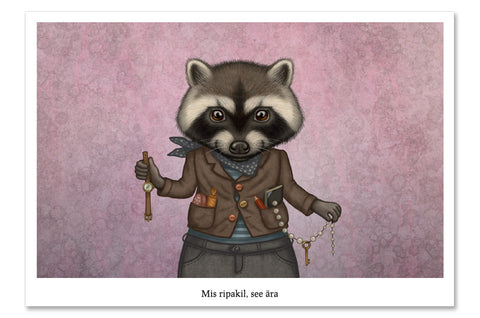"Postcard ""Finders keepers"" (Raccoon)"
