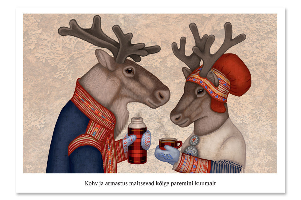"Postcard ""Coffee and love taste best when hot"" (Reindeers)"
