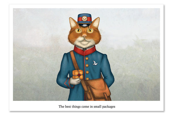 "Postcard ""The best things come in small packages"" (Cat)"
