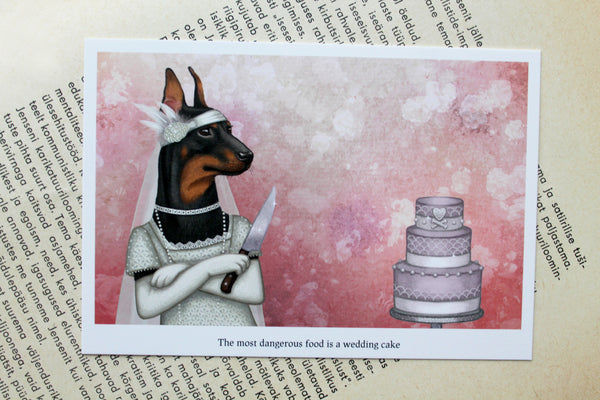 "Postcard ""The most dangerous food is a wedding cake"""