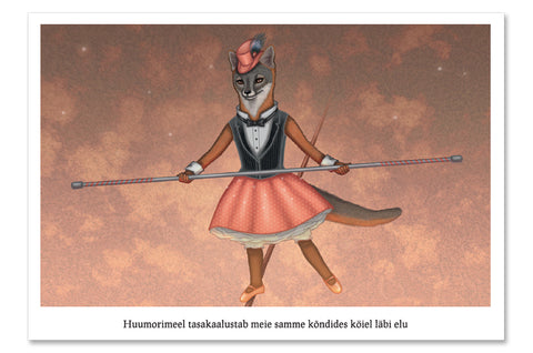 "Postcard ""A sense of humor is the pole to balance our steps on the tightrope of life"" (Island fox)"
