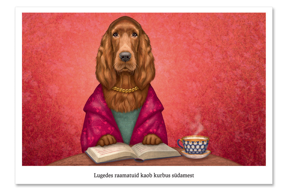 "Postcard ""Reading books removes sorrow from the heart"" (Irish Setter)"