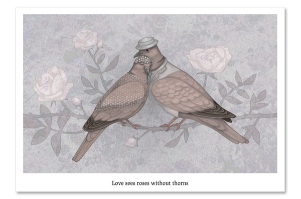 "Postcard ""Love sees roses without thorns""  (European turtle doves)"